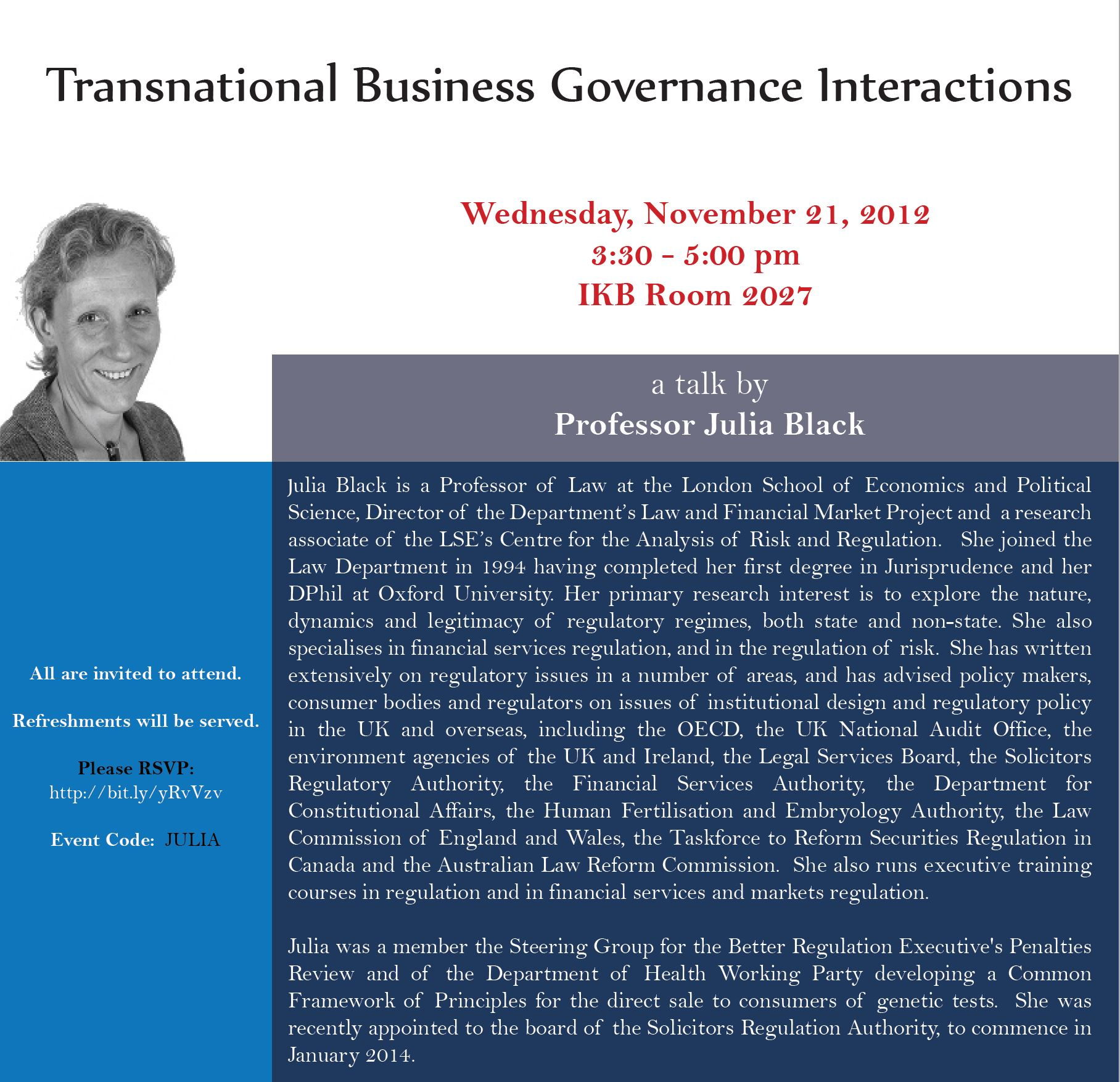 Poster for Julia Black lecture, York University, November 21, 2012
