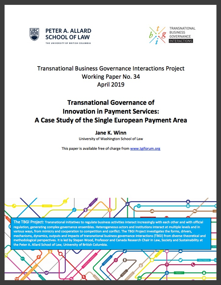 Winn (2019) Transnational Governance of Innovation in Payment Services: A Case Study of the Single European Payment Area