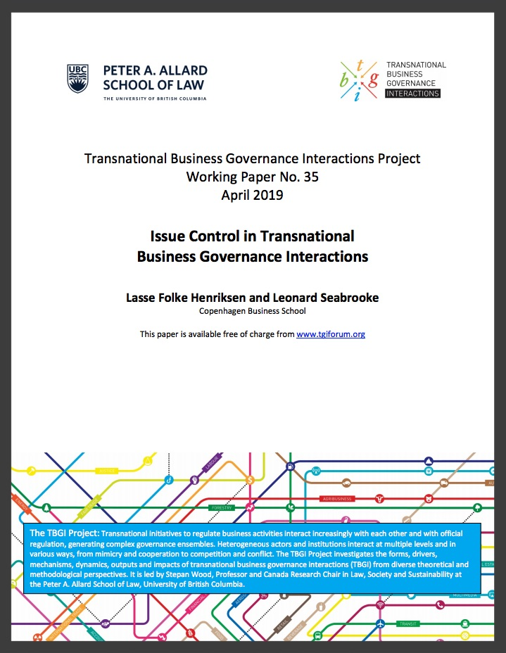 Henriksen and Seabrooke (2019) Issue Control in Transnational Business Governance Interactions